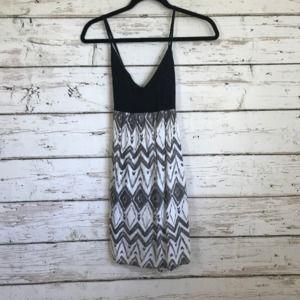 Oneill Black White Open Back Strapless Dress
